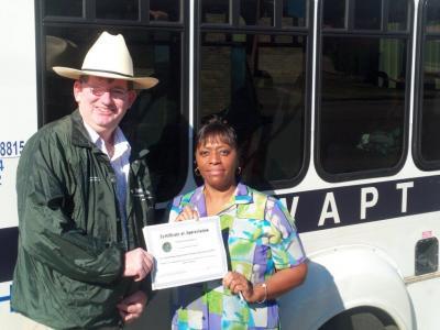 West Alabama Public Transportation recognized by V.I.P.