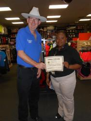 Hibbett Sports employee gets customer service award