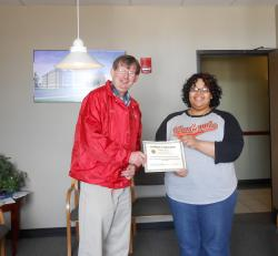 Tiffany Hartley awarded for outstanding customer service