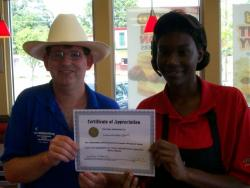 Hardee's worker recognized by V.I.P.
