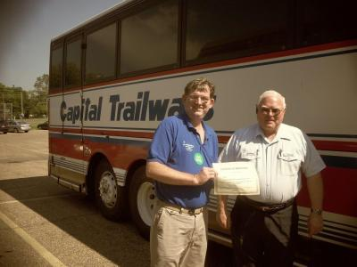 V.I.P. thanks Trailways driver Ed Sunday