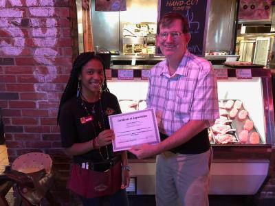 Restaurant serve honored with customer service award